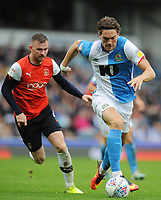 Blackburn Rovers' Sam Gallagher under pressure from Luton Town's Ryan Tunnicliffe<br /> <br /> Photographer Kevin Barnes/CameraSport<br /> <br /> The EFL Sky Bet Championship - Blackburn Rovers v Luton Town - Saturday 28th September 2019 - Ewood Park - Blackburn<br /> <br /> World Copyright © 2019 CameraSport. All rights reserved. 43 Linden Ave. Countesthorpe. Leicester. England. LE8 5PG - Tel: +44 (0) 116 277 4147 - admin@camerasport.com - www.camerasport.com