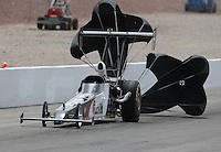 Apr. 7, 2013; Las Vegas, NV, USA: NHRA top alcohol dragster driver Megan McKernan during the Summitracing.com Nationals at the Strip at Las Vegas Motor Speedway. Mandatory Credit: Mark J. Rebilas-