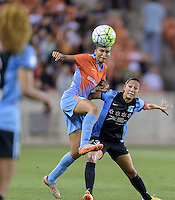 Poliana Barbosa (2) of the Houston Dash goes up for a header over Christen Press (23) of the Chicago Red Stars in the first half on Saturday, April 16, 2016 at BBVA Compass Stadium in Houston Texas.