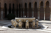 Courtyard of the Lions, 1362 ? 1391, Muhammad V, Nasrid Palaces, The Alhambra, Granada, Andalusia, Spain.Courtyard of the Lions, 1362 ? 1391, Muhammad V, Nasrid Palaces, The Alhambra, Granada, Andalusia, Spain. Picture by Manuel Cohen