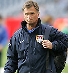 14 April 2007: United States head coach Greg Ryan. The United States Women's National Team defeated the Women's National Team of Mexico 5-0 at Gillette Stadium in Foxboro, Massachusetts in an international friendly game.
