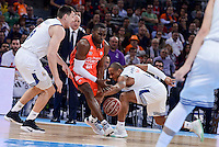 Real Madrid's Jonas Maciulis and Dontaye Draper and Valencia Basket's Romain Sato during Quarter Finals match of 2017 King's Cup at Fernando Buesa Arena in Vitoria, Spain. February 19, 2017. (ALTERPHOTOS/BorjaB.Hojas)