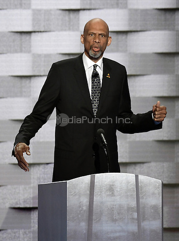 NBA legend Kareem Abdul-Jabaar makes remarks during the fourth session of the 2016 Democratic National Convention at the Wells Fargo Center in Philadelphia, Pennsylvania on Thursday, July 28, 2016.<br /> Credit: Ron Sachs / CNP/MediaPunch<br /> (RESTRICTION: NO New York or New Jersey Newspapers or newspapers within a 75 mile radius of New York City)