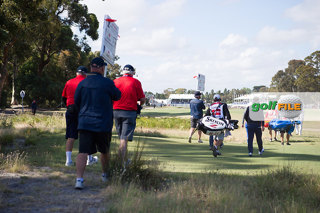 Soren Kjeldsen (DEN) making his way up the 18th during round 3 at the ISPS Handa World Cup of Golf, from Kingston heath Golf Club, Melbourne Australia. 26/11/2016<br /> Picture: Golffile | Anthony Powter<br /> <br /> <br /> All photo usage must carry mandatory copyright credit (&copy; Golffile | Anthony Powter)