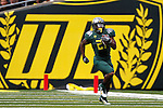 09/17/11-- Oregon running back LaMichael James runs down the sideline for a 90-yard touchdown against Missouri State at Autzen Stadium in Eugene, Or....Photo by Jaime Valdez. ..............................................