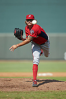 Potomac Nationals relief pitcher Taylor Guilbeau (21) delivers a pitch to the plate against the Winston-Salem Rayados at BB&T Ballpark on August 12, 2018 in Winston-Salem, North Carolina. The Rayados defeated the Nationals 6-3. (Brian Westerholt/Four Seam Images)