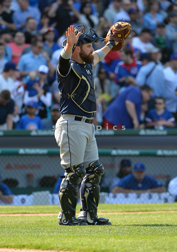 San Diego Padres Derek Norris (3) during a game against the Chicago Cubs on April 17, 2015 at Wrigley Field in Chicago, IL. The Padres beat the Cubs 5-4.