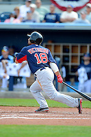 Boston Red Sox outfielder Shane Victorino #18 during a Grapefruit League Spring Training game against the Tampa Bay Rays at Charlotte County Sports Park on February 25, 2013 in Port Charlotte, Florida.  Tampa Bay defeated Boston 6-3.  (Mike Janes/Four Seam Images)