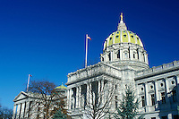 State Capitol, State House, Harrisburg, PA, Pennsylvania, The Pennsylvania State Capitol Building in the capital city of Harrisburg in the winter.