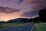 Sunset light over East Side Road, near Hopland, Mendocino County, California
