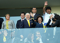 The Chile President Michelle Bachelet (far left) next to the President of Paraguay Horacio Manuel Cartes and Ecuador President Rafael Correa along side the Bolivia President Evo Morales (far right) with Brazilian Football Confederation President Jose Maria Marin in front
