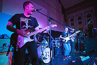 08 APR 2016 - STOWMARKET, GBR - Ben Brown (left) on vocals and lead guitar for Superglu with Ben Ward (hidden), Krista Lynch and Alex Brown, during a recording for BBC Introducing at the John Peel Centre for Creative Arts in Stowmarket, Suffolk, Great Britain (PHOTO COPYRIGHT © 2016 NIGEL FARROW, ALL RIGHTS RESERVED)
