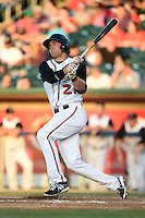 Lansing Lugnuts third baseman Mitch Nay (21) at bat during a game against the South Bend Silver Hawks on June 6, 2014 at Cooley Law School Stadium in Lansing, Michigan.  South Bend defeated Lansing 13-5.  (Mike Janes/Four Seam Images)