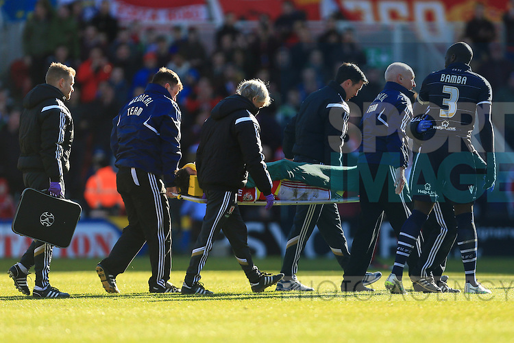 Jelle Vossen of Middlesbrough is stretchered off following a collision of heads - Middlesbrough vs. Leeds United - Skybet Championship - Riverside Stadium - Middlesbrough - 21/02/2015 Pic Philip Oldham/Sportimage