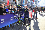 Hector Carretero Millan (ESP) Movistar Team with fans before the start of Gent-Wevelgem in Flanders Fields 2017, running 249km from Denieze to Wevelgem, Flanders, Belgium. 26th March 2017.<br /> Picture: Eoin Clarke | Cyclefile<br /> <br /> <br /> All photos usage must carry mandatory copyright credit (&copy; Cyclefile | Eoin Clarke)