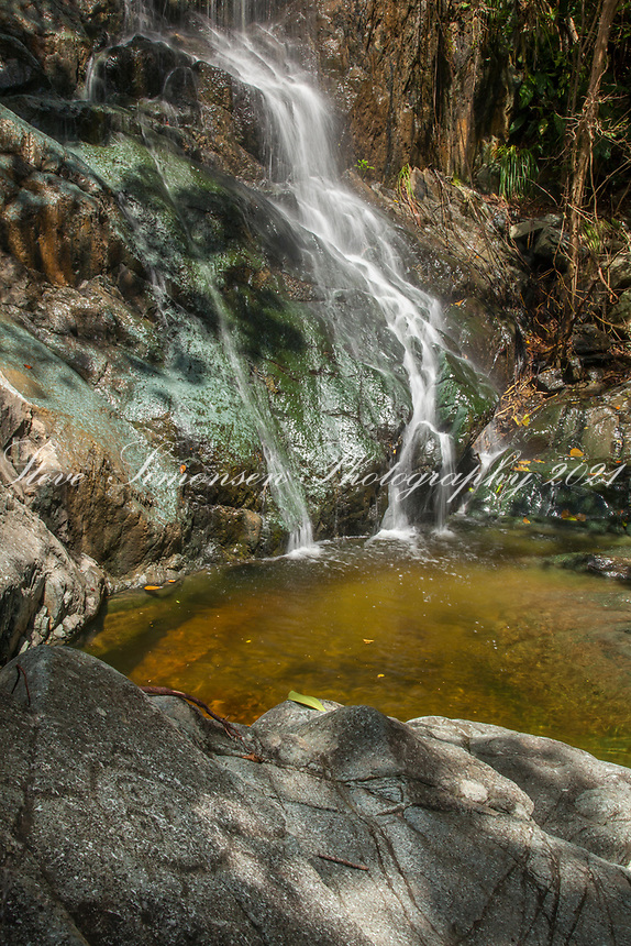 Reef Bay Waterfall with Petroglyph in the foreground<br /> Virgin Islands National Park<br /> St. John<br /> US Virgin Islands