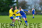 Stephen Palmer Ballyhar takes on John Burke  Killorglin during their FAI cup game in Ballyhar on Saturday