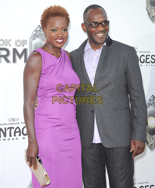 "Viola Davis & Julius Tennon.""The Book of Mormon"" Hollywood Opening night Held At The Pantages theatre, Hollywood, California, USA..September 12th, 2012.half length pink purple dress sleeveless glasses grey gray suit jacket married husband wife.CAP/DVS.©DVS/Capital Pictures."