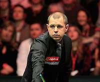 Barry Hawkins can not believe his luck during the Dafabet Masters FINAL between Barry Hawkins and Ronnie O'Sullivan at Alexandra Palace, London, England on 17 January 2016. Photo by Liam Smith / PRiME Media Images