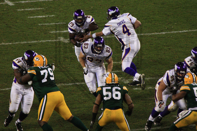 GREEN BAY - NOVEMBER 2009: The Green Bay Packers take on the Minnesota Vikings during a game on November 1, 2009 at Lambeau Field in Green Bay, Wisconsin. (Photo by Brad Krause)