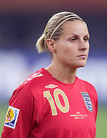 Kelly Smith. The USA defeated England, 3-0 during the quarterfinals of the FIFA Women's World Cup in Tianjin, China.  The USA defeated England, 3-0.