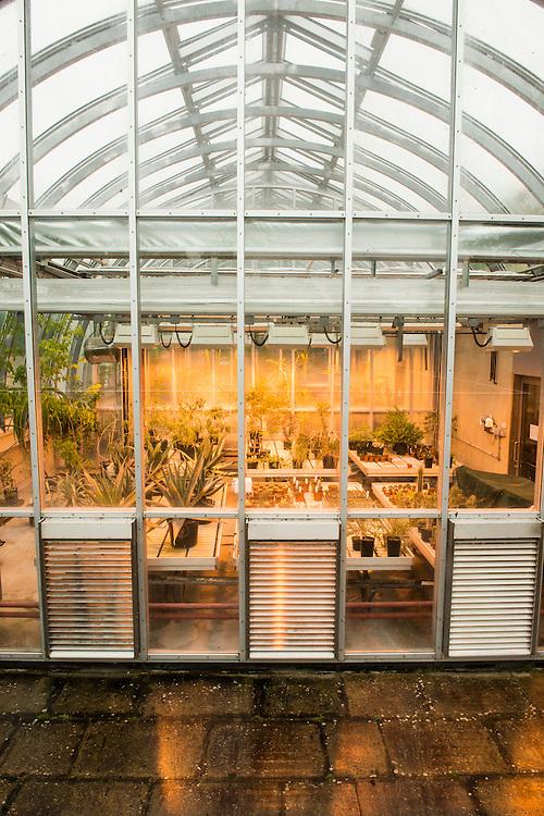 Greenhouses alongside the millenium seedbank. Wakehurst Place - Royal Botanic Gardens, Kew. Ardingly, West Sussex, UK.