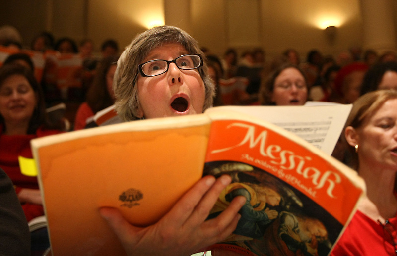 """Meg Sandridge of Richmond participates in the 40th annual """"messiah"""" sing-in started by conductor Donald Loach in 1968.  Photo/The Daily Progress/Andrew Shurtleff"""