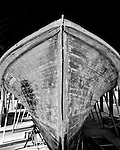 With the paint removed during restoration of the Jean Dale, one can see that the side boards grow narrower toward the top.  The narrow strips enabled Brady Lewis to create the complex curves that went into the flared bow.