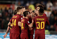 Calcio, Serie A: AS Roma - Benevento, Roma, stadio Olimpico, 11 gennaio 2018.<br /> Roma's Gregoire Defrel celebrates with his teammates after scoring during the Italian Serie A football match between AS Roma and Benevento at Rome's Olympic stadium, February 11, 2018.<br /> UPDATE IMAGES PRESS/Isabella Bonotto