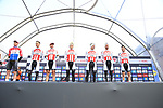 Corendon-Circus team on stage at sign on before the 2019 Gent-Wevelgem in Flanders Fields running 252km from Deinze to Wevelgem, Belgium. 31st March 2019.<br /> Picture: Eoin Clarke | Cyclefile<br /> <br /> All photos usage must carry mandatory copyright credit (© Cyclefile | Eoin Clarke)