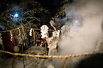 OGA, JAPAN - FEBRUARY 10: A sacred ritual ceremony is performed during the Namahage Sedo Festival at Shinzan Shrine on February 10, 2019 in Oga, Akita prefecture, Japan. Namahage visit each house to admonish sluggards to mend their ways, ward off disasters and offer blessings, looking for evil children, in the area on New Year's Eve. In the festival, which combines the local event of the ceremony of the shrine, visitors can experience these traditions and its folk culture. (Photo by Richard Atrero de Guzman/Aflo)