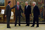 02.08.2012. Juan Carlos of Spain attends the audience with Mr. Mario Monti, President of the Council of Ministers of Italy, at the Palacio de la Zarzuela in Madrid. In the image Leonardo Visconti di Modrone, Italian Ambassador to Spain, King Juan Carlos I, Mario Monti and Jose Manuel Garcia-Margallo, Minister of Foreign Affairs of Spain. (Alterphotos/Marta Gonzalez)