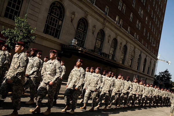 April 26, 2008. Raleigh, NC.. Heralded as the largest Support the Troops parade in North Carolina history, thousands of people turned to watch floats and displays from all divisions of the US military parade through downtown Raleigh, NC.