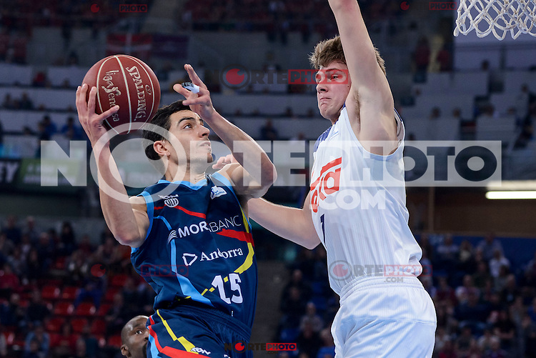 Real Madrid's Luka Doncic and Morabanc Andorra's David Navarro during Quarter Finals match of 2017 King's Cup at Fernando Buesa Arena in Vitoria, Spain. February 16, 2017. (ALTERPHOTOS/BorjaB.Hojas) /Nortephoto.com
