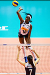 Paola Ogechi Egonu of Italy attacks during the FIVB Volleyball Nations League Hong Kong match between China and Italy on May 31, 2018 in Hong Kong, Hong Kong. Photo by Marcio Rodrigo Machado / Power Sport Images