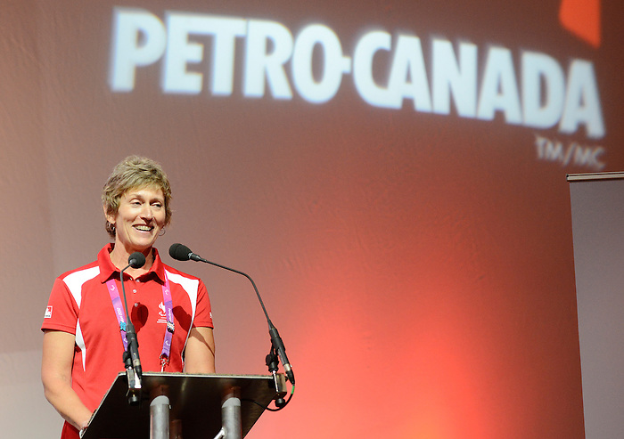 LONDON, ENGLAND 09/04/2012  Deborah Gullaher, Vice President of Marketing at Petro Canada speaks at the Canadian Paralympic Committee's Family and Friends Reception Presented by Petro-Canada during the London 2012 Paralympic Games at East Wintergarden.  (Photo by Matthew Murnaghan/Canadian Paralympic Committee)