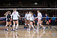 STANFORD, CA - December 1, 2017: Meghan McClure, Morgan Hentz, Kathryn Plummer, Tami Alade, Jenna Gray, Merete Lutz at Maples Pavilion. The Stanford Cardinal defeated the CSU Bakersfield Roadrunners 3-0 in the first round of the NCAA tournament.
