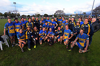 The Paraparaumu team poses for a group photo after the Horowhenua-Kapiti premier club rugby final Ramsbottom Cup match between Paraparaumu and Waikanae at Levin Domain in Levin, New Zealand on Saturday, 22 July 2017. Photo: Dave Lintott / lintottphoto.co.nz