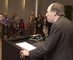 David Laventhal speaking at Celebration of 35th Anniversary of Newsday Investigations Team held in Newsday Auditorium in Melville on Thursday September 26, 2002. (Newsday photo by Jim Peppler).