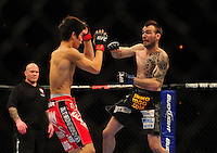 Oct. 29, 2011; Las Vegas, NV, USA; UFC fighter George Roop (right) against Hatsu Hioki during UFC 137 at the Mandalay Bay event center. Mandatory Credit: Mark J. Rebilas-