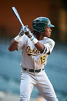 Oakland Athletics JaVon Shelby (19) during an Instructional League game against the Arizona Diamondbacks on October 15, 2016 at Chase Field in Phoenix, Arizona.  (Mike Janes/Four Seam Images)