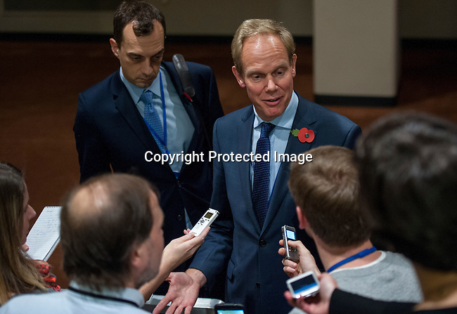 UK Permanent Representatives to the United Nations Ambassador Matthew Rycroft speaking to the press at the SC stakeout