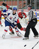 Tomas Zaborsky (Saginaw Spirit - Slovakia) waits for a pass following the face-off. The Suisse defeated Slovakia 2-1 in a 2007 World Juniors match on January 2, 2007, at FM Mattson Arena in Mora, Sweden.