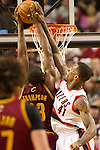 01/15/13--Portland Trail Blazers power forward Thomas Robinson (41) blocks Cleveland Cavaliers power forward Tristan Thompson's shot in the second half at Moda Center.<br />