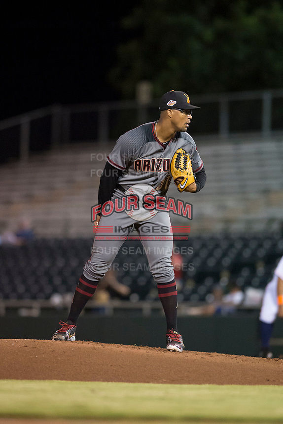 Salt River Rafters starting pitcher Jon Duplantier (31), of the Arizona Diamondbacks organization, looks in for the sign during an Arizona Fall League game against the Scottsdale Scorpions at Scottsdale Stadium on October 12, 2018 in Scottsdale, Arizona. Scottsdale defeated Salt River 6-2. (Zachary Lucy/Four Seam Images)