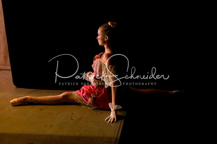 A young dancer waits in the wings for her turn on stage during the popular Nutcracker performance at the Belk Theater in downtown Charlotte, NC. The production was performed by the North Carolina Dance Theatre.