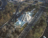 aerial photograph of the Monument to La Raza at the Circuito Interior highway, Mexico City