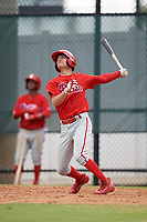 Philadelphia Phillies shortstop Dalton Guthrie (4) during an Instructional League game against the Toronto Blue Jays on September 30, 2017 at the Carpenter Complex in Clearwater, Florida.  (Mike Janes/Four Seam Images)