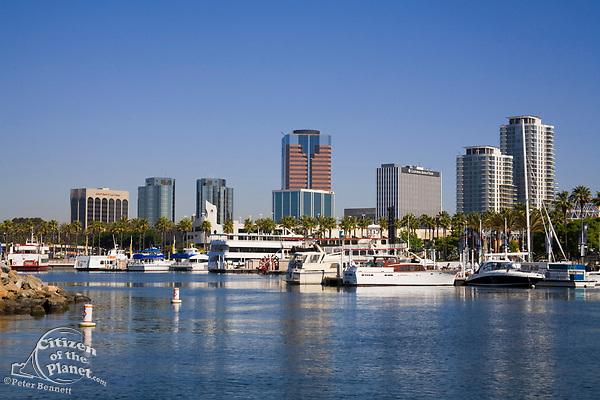 Rainbow Harbor, Long Beach Skyline, California, USA