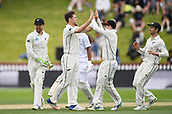 3rd December 2017, Wellington, New Zealand;  Matt Henry celebrates the wicket of Hetmyer.<br /> Day 3. New Zealand Black Caps v West Indies. 1st test match of the ANZ International Cricket Season 2017/18 season. Basin Reserve, Wellington,